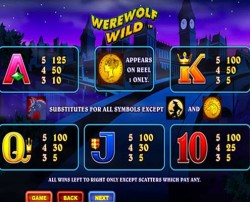 Werewolf Wild pokie paytable, feature wins & prizes